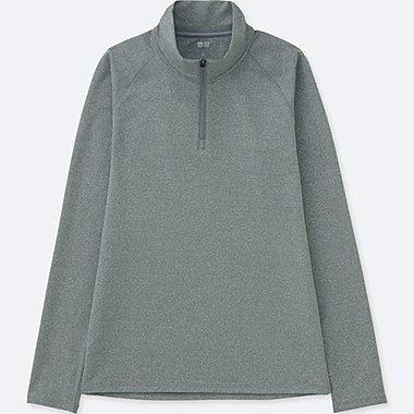 WOMEN DRY-EX WARM LONG SLEEVE HALF ZIP T-SHIRT