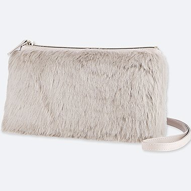 WOMEN FAUX SHEARLING SHOULDER BAG, GRAY, medium