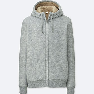 MEN PILE-LINED SWEAT LONG-SLEEVE FULL-ZIP HOODIE, GRAY, medium