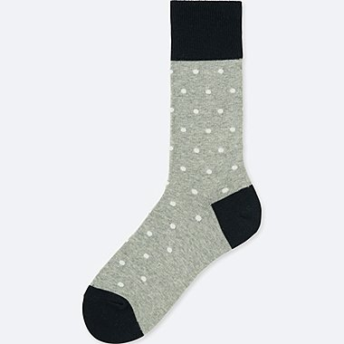MEN DOTS SOCKS, GRAY, medium