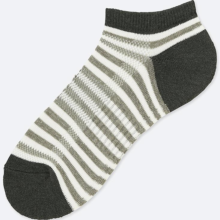 MEN PILE STRIPED SHORT SOCKS, GRAY, large