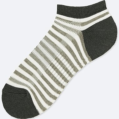 MEN PILE STRIPED SHORT SOCKS, GRAY, medium