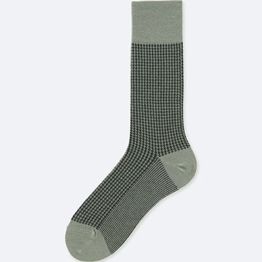 MEN HEATTECH HOUNDSTOOTH PATTERN SOCKS, GRAY, medium