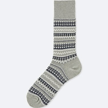 MEN HEATTECH FAIR ISLE HALF SOCKS, GRAY, medium