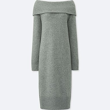 WOMEN LAMBSWOOL BLEND LONG-SLEEVE DRESS, GRAY, medium