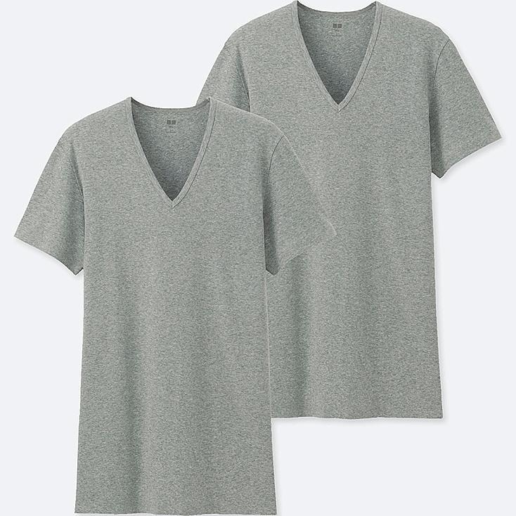 MEN SUPIMA® COTTON V-NECK SHORT-SLEEVE T-SHIRT (SET OF 2), GRAY, large