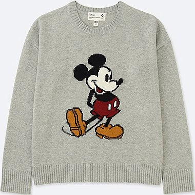 WOMEN MICKEY STANDS GRAPHIC CREWNECK SWEATER, GRAY, medium