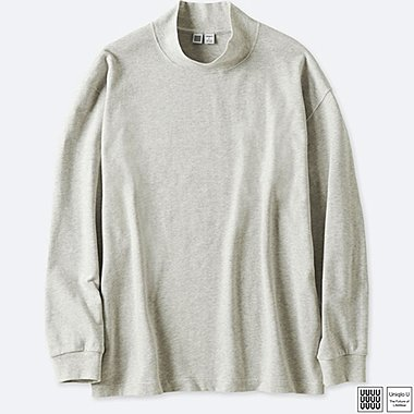 MEN UNIQLO U OVERSIZED LONG SLEEVE MOCK NECK T-SHIRT