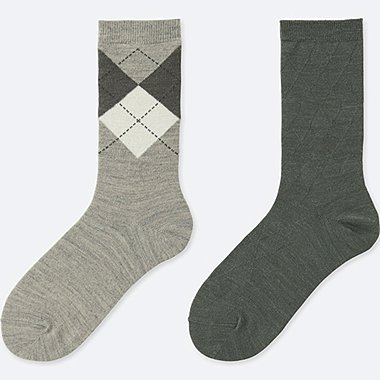 WOMEN HEATTECH ARGYLE SOCKS (2 PAIRS), GRAY, medium