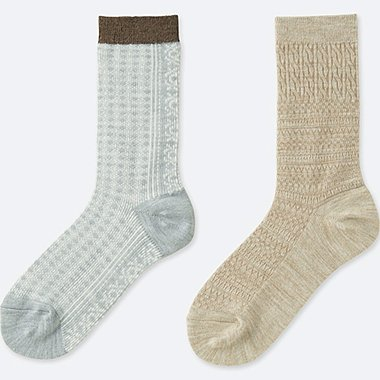 WOMEN HEATTECH FAIR ISLE SOCKS (2 PAIRS), GRAY, medium