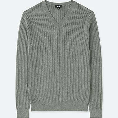 MEN COTTON CASHMERE V-NECK LONG-SLEEVE SWEATER, GRAY, medium