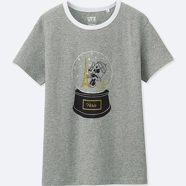 WOMEN MICKEY TRAVELS SHORT-SLEEVE GRAPHIC T-SHIRT, GRAY, large
