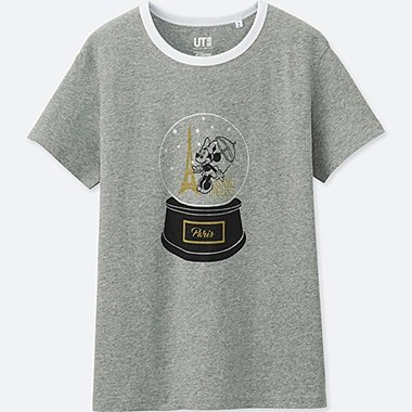 WOMEN MICKEY TRAVELS SHORT-SLEEVE GRAPHIC T-SHIRT, GRAY, medium