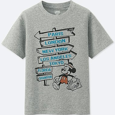 BOYS MICKEY TRAVELS SHORT-SLEEVE GRAPHIC T-SHIRT, GRAY, medium