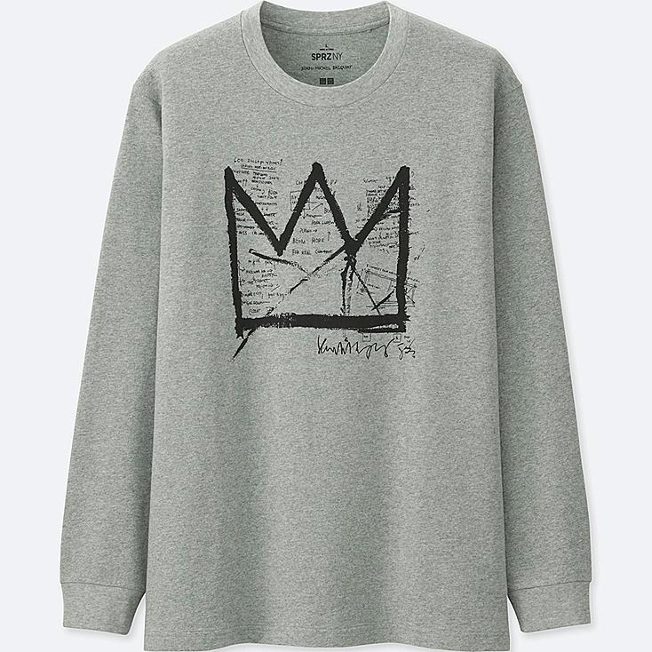 MEN SPRZ NY LONG-SLEEVE GRAPHIC T-SHIRT  (Jean-Michel Basquiat), GRAY, large