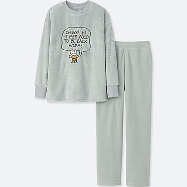 WOMEN PEANUTS LONG-SLEEVE FLEECE SET, GRAY, medium
