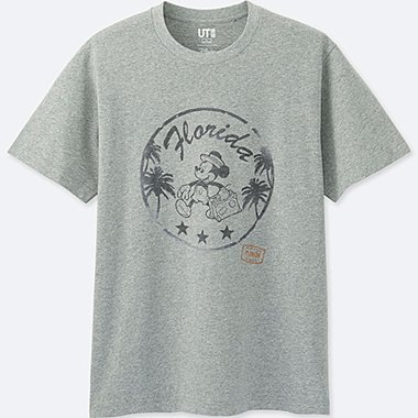 MEN MICKEY TRAVELS SHORT-SLEEVE GRAPHIC T-SHIRT, GRAY, medium