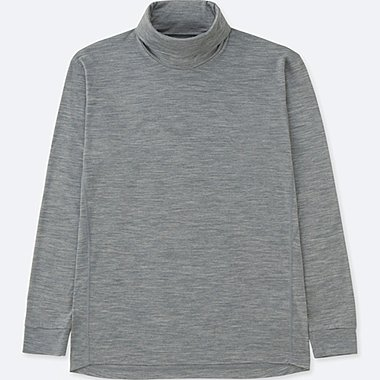 MEN WOOL-BLEND TURTLENECK LONG-SLEEVE T-SHIRT, GRAY, medium