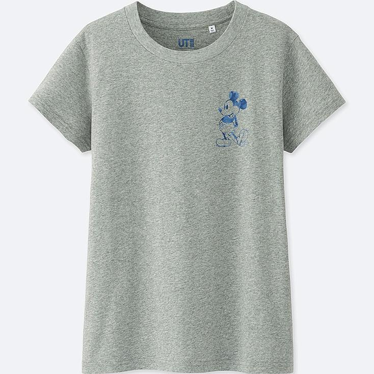 WOMEN MICKEY BLUE SHORT-SLEEVE GRAPHIC T-SHIRT, GRAY, large
