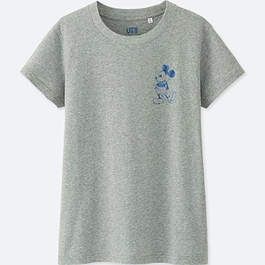 WOMEN MICKEY BLUE SHORT-SLEEVE GRAPHIC T-SHIRT, GRAY, medium