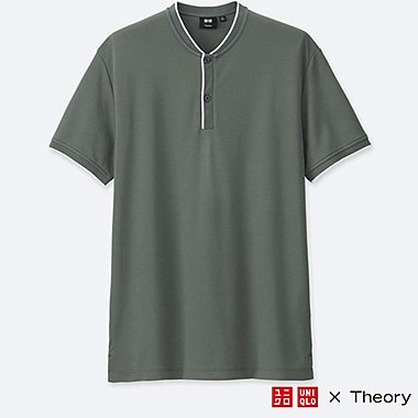 MEN DRY COMFORT STAND COLLAR POLO SHIRT (THEORY), GRAY, medium
