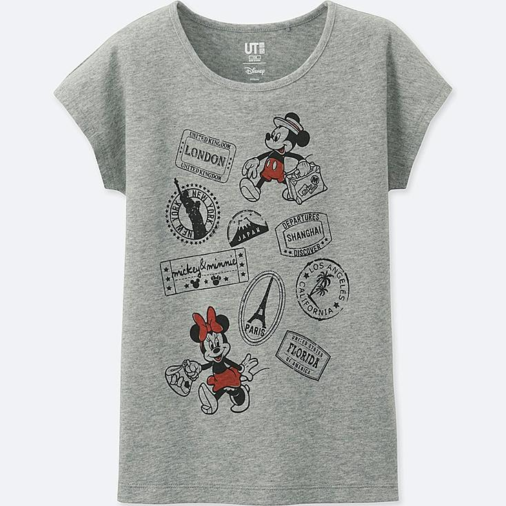 GIRLS MICKEY TRAVELS SHORT-SLEEVE GRAPHIC T-SHIRT, GRAY, large