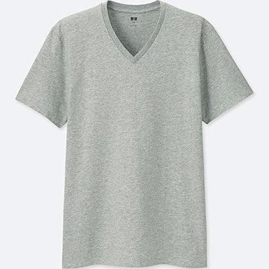 MEN SUPIMA® COTTON V-NECK SHORT-SLEEVE T-SHIRT, GRAY, medium