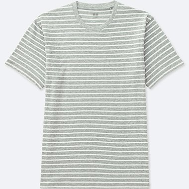 MEN STRIPED CREWNECK SHORT-SLEEVE T-SHIRT, GRAY, medium