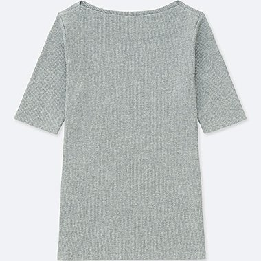 WOMEN RIBBED BOAT NECK HALF-SLEEVE T-SHIRT, GRAY, medium