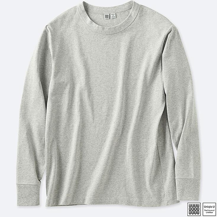 MEN U CREWNECK LONG-SLEEVE T-SHIRT, GRAY, large