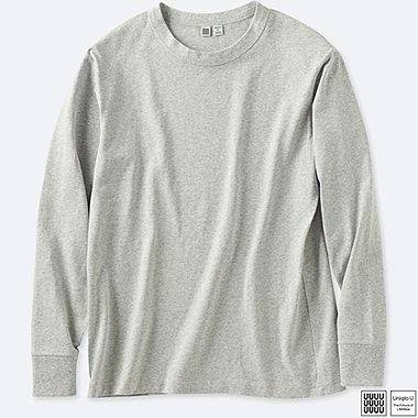 MEN U CREWNECK LONG-SLEEVE T-SHIRT, GRAY, medium
