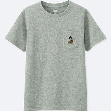 KIDS MICKEY STANDS SHORT-SLEEVE POCKET T-SHIRT, GRAY, medium