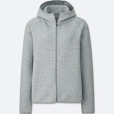 WOMEN DRY SWEAT LONG-SLEEVE FULL-ZIP HOODIE, GRAY, medium