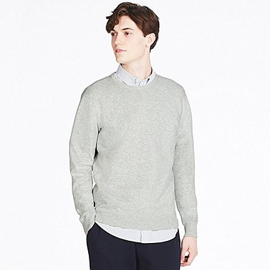MEN WASHABLE CREWNECK LONG-SLEEVE SWEATER, GRAY, medium