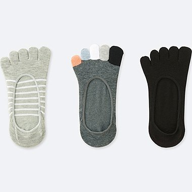 WOMEN FINGER FOOTSIES (3 PAIRS), GRAY, medium