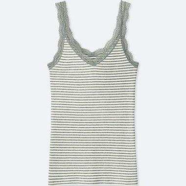 WOMEN 2-WAY RIBBED LACE TANK TOP, GRAY, medium