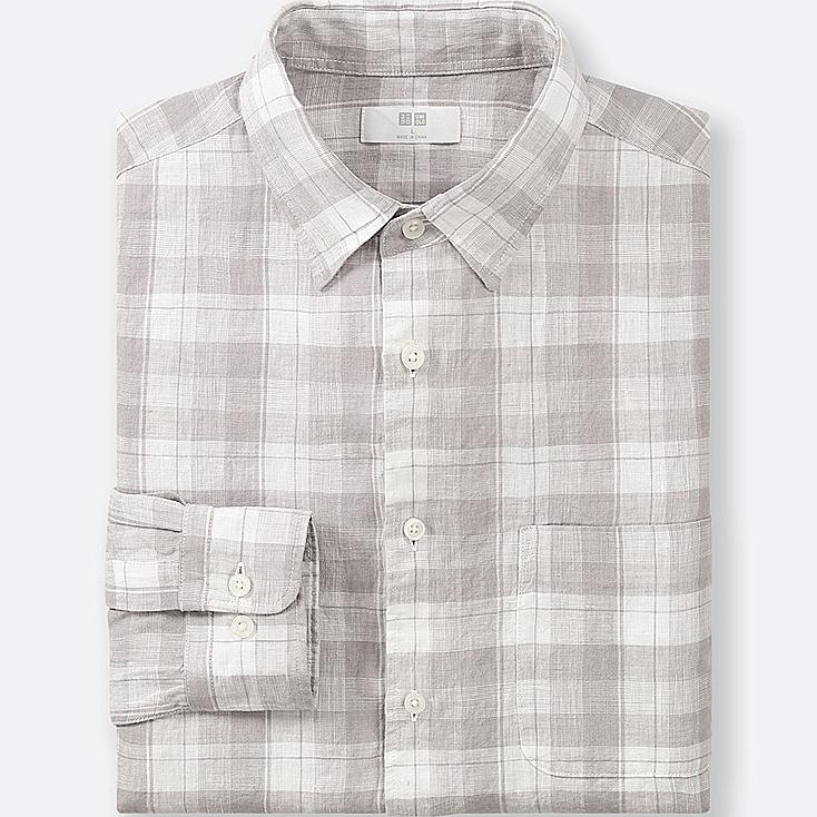 Men premium linen checked long sleeve shirt uniqlo us for Uniqlo premium t shirt