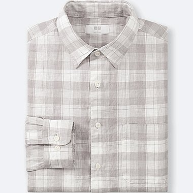 MEN PREMIUM LINEN CHECKED LONG-SLEEVE SHIRT, GRAY, medium