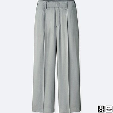 WOMEN U SATIN PLEATED PANTS, GRAY, medium