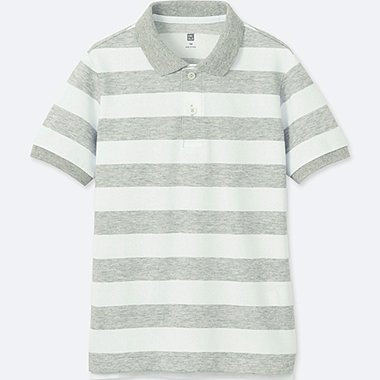 BOYS DRY PIQUE STRIPED SHORT-SLEEVE POLO SHIRT, GRAY, medium