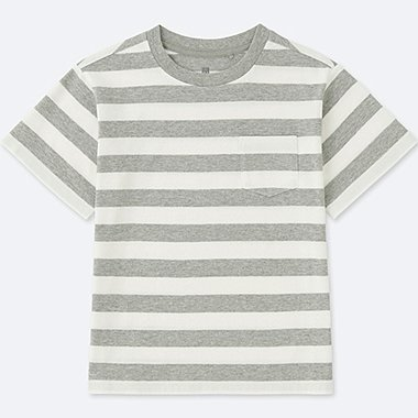 KIDS STRIPED CREWNECK SHORT-SLEEVE T-SHIRT, GRAY, medium