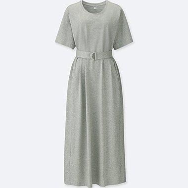 WOMEN 100% COTTON BELTED SHORT SLEEVE DRESS