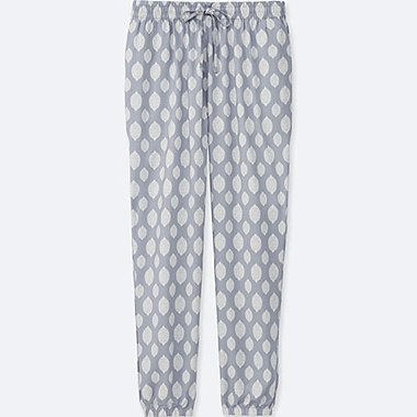 WOMEN DRAPE STAMP-PRINT PANTS, GRAY, medium