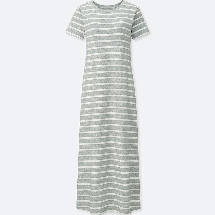 WOMEN STRIPED SHORT-SLEEVE LONG BRA DRESS at UNIQLO in Brooklyn, NY | Tuggl