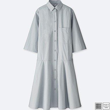 WOMEN U DROPPED WAIST 3/4 SLEEVE SHIRT DRESS, GRAY, medium