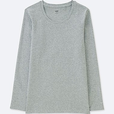 WOMEN COMPACT COTTON CREWNECK LONG-SLEEVE T-SHIRT, GRAY, medium
