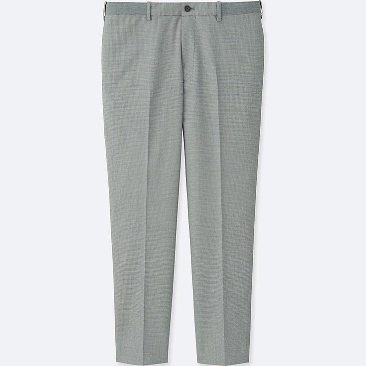MEN RELAXED ANKLE-LENGTH PANTS (WOOL-LIKE), GRAY, large