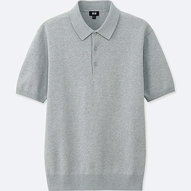 MEN WASHABLE KNITTED SHORT-SLEEVE POLO SHIRT, GRAY, medium