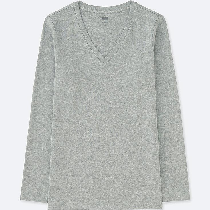 WOMEN COMPACT COTTON V-NECK LONG-SLEEVE T-SHIRT, GRAY, large