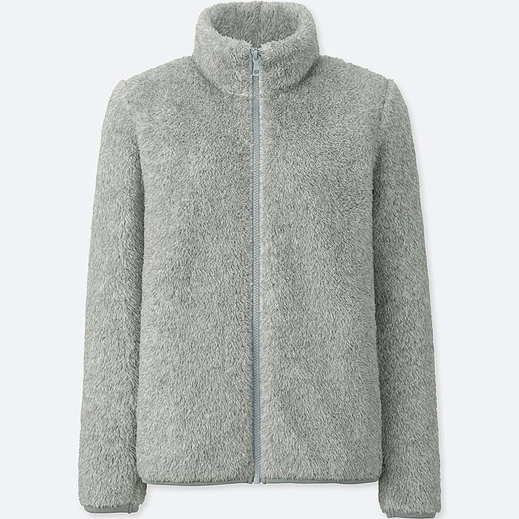 WOMEN FLUFFY YARN FLEECE FULL-ZIP JACKET, GRAY, large
